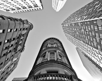 "NYC Photograph, Black and White Photography, Wall Art, Art Print, Lower Manhattan, High Rises, Downtown, ""Looking Up In Lower Manhattan"""