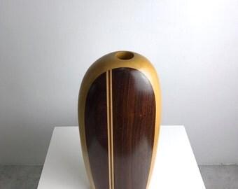 Vintage Large Signed Paul LaMontagne Studio Art Turned Wood Vase