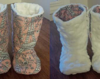 baby boots sewing pattern, velcro side closure and reversible option