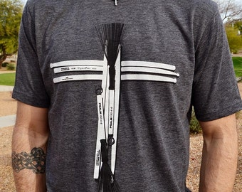 Drum Stick Cross // Praise and Worship Drummer Shirt // Charcoal Gray Crew