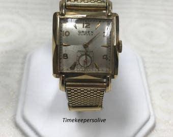 Vintage Original Gruen Curvex 10k Gold Filled Metal Band Mechanical Wrist Watch