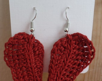 Crochet leaf earrings, Nickel free, Sterling silver