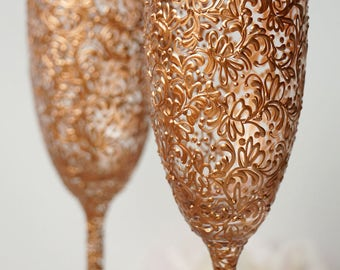 Rose Gold Wedding Champagne Flutes Wedding Champagne Glasses Rose Gold Toasting Flutes Gold Wedding Set of 2