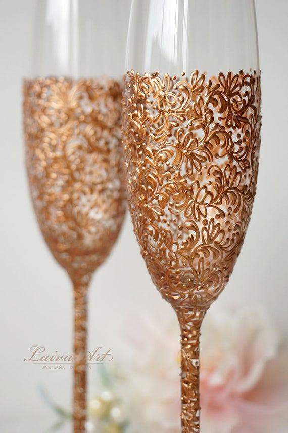 Rose Gold Wedding Champagne Flutes Wedding Champagne Glasses