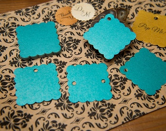 "Teal Pearlised 1.5"" Square Luxury Gift Tags, Blank Tags, Wishing Tree Tags, Wedding favour tags, Jewellery Tags, wedding favors 1.5 inch"