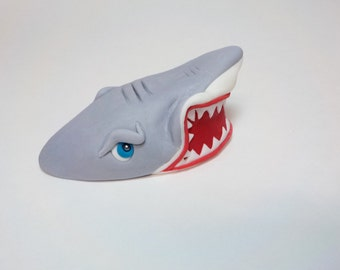 Sneering Great White Shark Fondant Cake Topper 5 Inches Tough Angry Expression