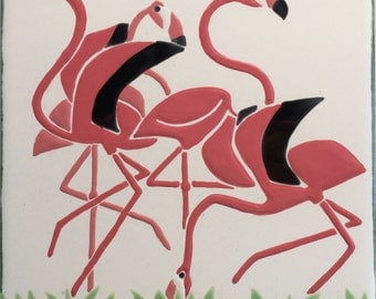 Flamingo tile trivet