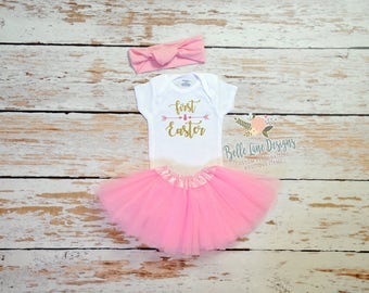 Girl's First Easter Gerber Onesie Outfit with Pink Tutu  | My First Easter Gerber Onesie Outfit | Baby's First Easter |