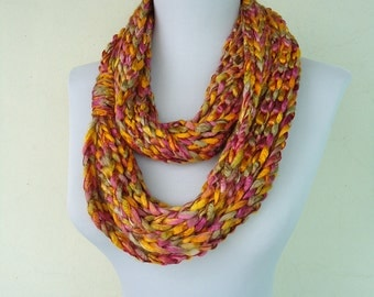 Chain Loop Scarf, Crochet Infinity Scarf, Chain Scarves, Yellow Pink Crochet Scarf, Circle Crochet Scarf, Loop Scarf, Ombre Colorful Scarves