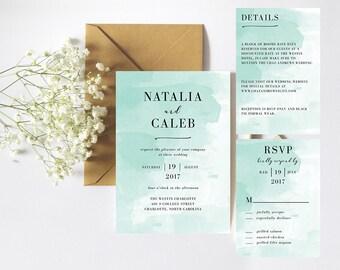 Modern Mint Watercolor Wedding Invitation Template, Printable Wedding Invitations, Wedding Invitation Suite, DIY Invitations