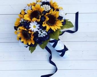 Navy Sunflower Bouquet, Daisy and Sunflower Bouquet, Navy Bouquet, Sunflower Brooch Bouquet, Navy Daisy Sunflower Bouquet, Bride Bouquet