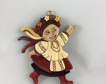 Wooden Female Ukrainian Dancer Ornament