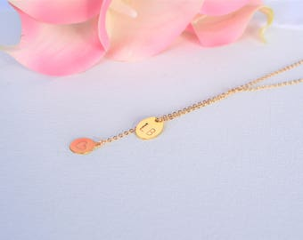 Personalized Oval disk and Coin Drop Necklace/Personalized necklace/Simple Necklace/Silver/Gold/