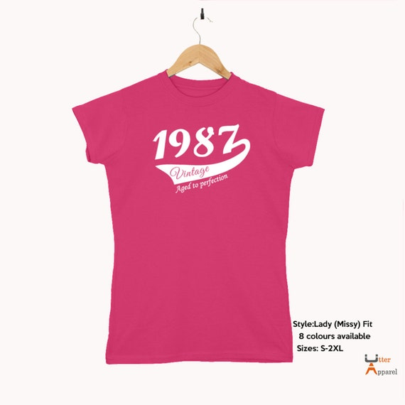 30th Birthday Gift for woman, crew neck t shirt, printed design 1987 Vintage   30th birthday present