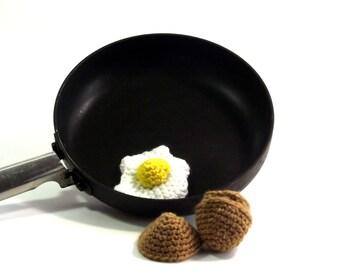 Fried Egg Plushie - Pretend Food - Crochet Food - Egg Amigurumi - Play Egg - Imagination Toy - Crochet Egg - Food Plushie - Novelty Plushie