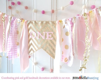 Pink and gold highchair banner, first birthday, 1st birthday, baby girl, photo prop backdrop, i am one, second, rag tie garland, tassel