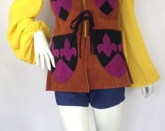 Vintage 1960s 70s suede Waistcoat / medieval applique /Festival psych