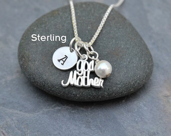 Godmother Gift - Personalized Sterling Silver Charm Necklace Pendant -Stamped Letter Name Initial-Swarovski Crystal Birthstone -Baptism Gift