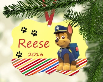 Personalized Paw Patrol Ornament ~ Chase ~ Christmas Ornament