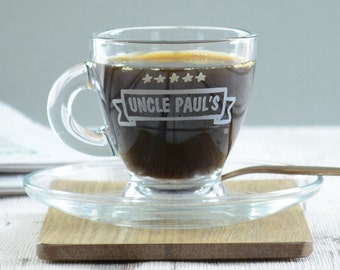 Personalised Uncle Espresso Cup And Saucer