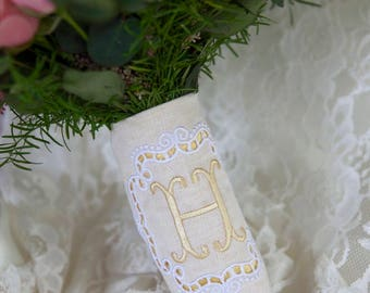 Custom Monogram Bridal Bouquet Wrap ~ Cutwork Embroidery Square Monogram Frame