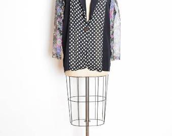 early 90s jacket, vintage 90s jacket, floral print blazer, light jacket, polka dot print, patchwork jacket, 1990s 90s clothing, L XL
