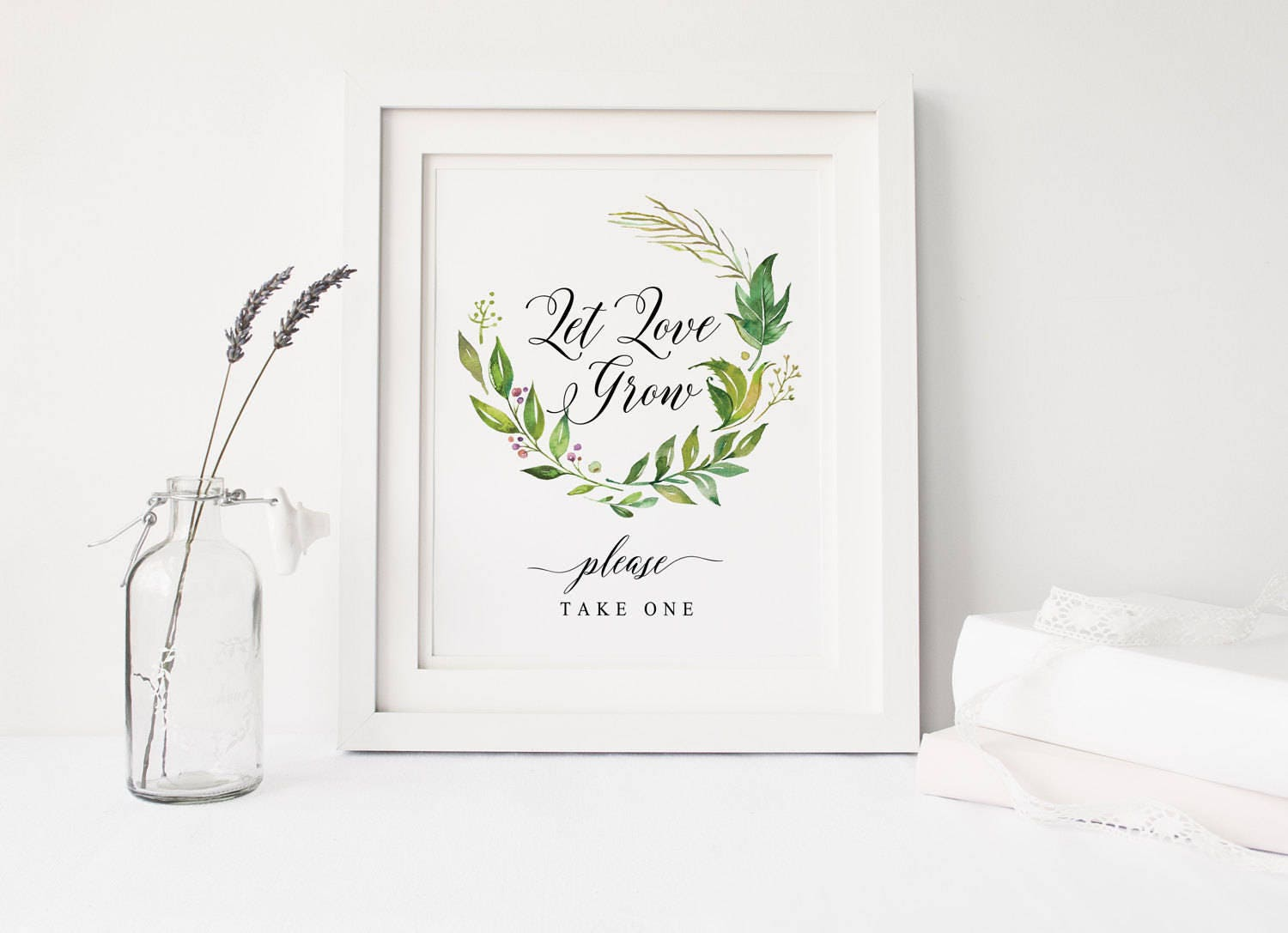 Let Love Grow sign printable, Wedding favor sign, Nature Leaves ...
