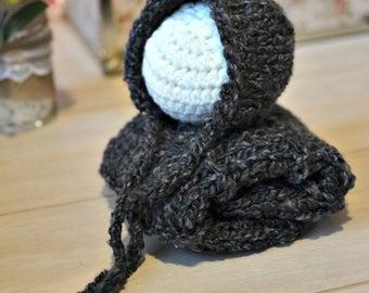 Knit Bonnet & Layer Photo Prop Blanket Hat Stuffer Mini