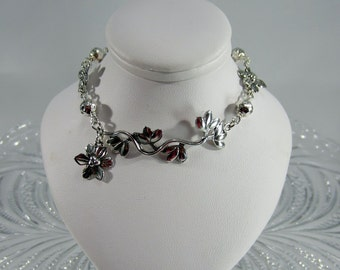 Vine branch and flower bracelet