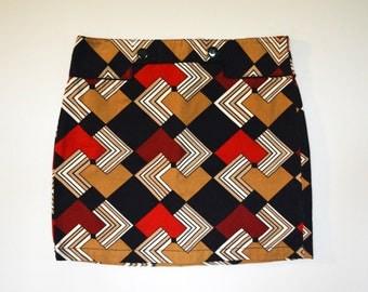 Unique Geometric Button Skirt