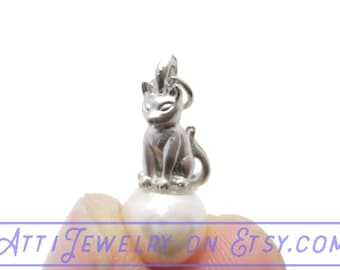 3D Tiny Kitty Cat Figurine Sitting on a Pearl Colored Ball Pendant Necklace in Silver | Handmade Animal Jewelry