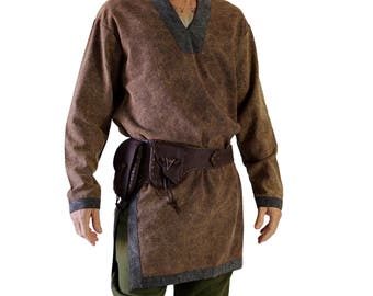 VIKING SHIRT Stone Brown with Stone Grey Trim - Viking Tunic, Renaissance Festival Costuming, Medieval Clothing, Cosplay, Mens Pirate Shirt