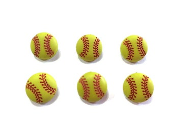 "Mini Softball Buttons (1/2"") Set of 6 Shank Back - 884 B"