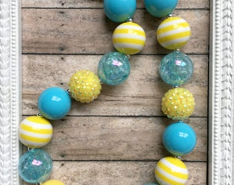 Sunny Yellow Chunky Necklace - Summer Blue Bubblegum Necklace - Girls Fashion Jewelry - Spring Chunky Bead Necklace - Toddler Jewelry