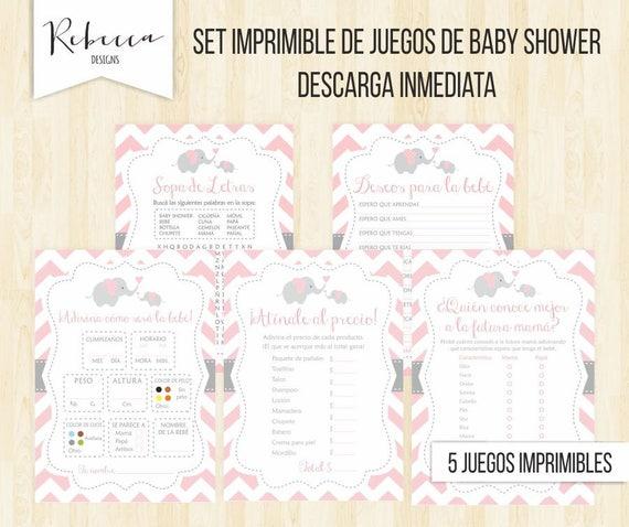 Juegos Baby Shower En Español Elefante Baby Shower Niña Juegos Imprimibles Baby  Shower Games In Spanish Baby Shower Printable 5 Juegos 104