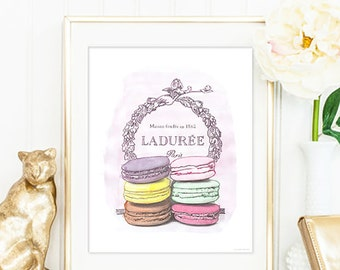Macaron Laduree Watercolour illustrated art. Luxury treats and desserts. Beautiful high fashion wall art. Modern Home Décor.