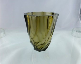 Beautiful Luminarc Smoky Glass Vase -- French Seventies Style!
