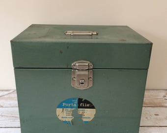Mid Century Metal File Box, Porta-File Steel Storage Box, Industrial Chic
