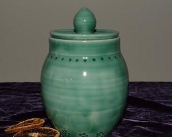 ginger jar, tea storage jar, covered jar, kitchen jar, green pottery, green jar, pottery jar, kitchen pottery, urn