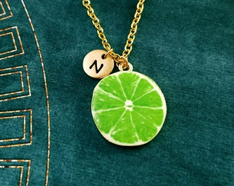 Lime Necklace Lime Jewelry Food Jewelry Fruit Slice Charm Necklace Green Lime Pendant Necklace Initial Necklace Personalized Jewelry Gift