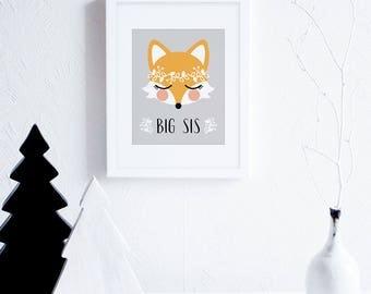 Big Sis Fox Art Illustration, Printable Art for Nursery, Grey and Peach Nursery Decor, Sisters, Girls Nursery Wall Art, Woodland Wreath