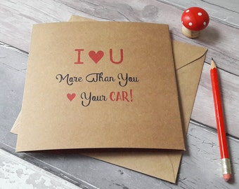 Car valentine cards, funny valentines cards, cards for car lovers, valentines day cards for him, anniversary cards for him