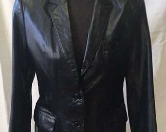 Vintage Black Leather Blazer