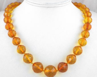 High Quality Vintage Faceted Amber Beads w/14K Gold Clasp Necklace + CEO