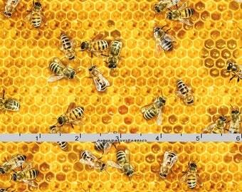 Honeybee Fabric, Elizabeths Studio 501 Honey, Bee Quilt Fabric, Honeycomb, Honey Fabric, Cotton