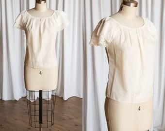 De La Vega blouse   vintage 60s blouse   white cotton peasant blouse   vintage 1960s blouse   eyelet lace peasant top   1950s white top