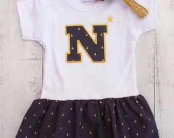 USNA Naval Academy Baby Girl 3-6 mo Onesie Dress and Headband!
