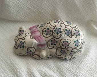 Floral Porcelain Sleeping Cat Figurine, Hand Painted Sleeping Cat Figurine, Cat Figurine, Sleeping Cat, Ceramic Cat