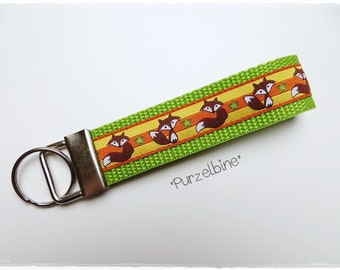 Keychains - foxes - green yellow orange