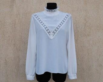 White Blouse Victorian Edwardian Style High Neck Lace Long Sleeves Romantic Zipper Back Medium Size